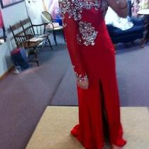 Long Red One Sleeve Prom Dress Blush Photo