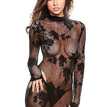 Long Sleeve Floral Lace Gown With G-String-B150 Photo