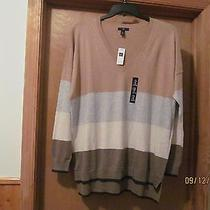 Long Sleeve v-Neck Sweater Xl Gap Beige & Other Striped 55% Cotton 40% Nylon 5%  Photo