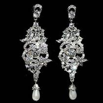 Long Statement Prom Chandelier Earring Made W/ Swarovski Crystal Wedding Jewelry Photo