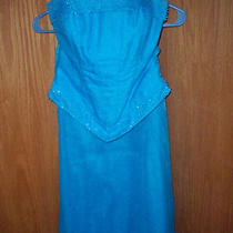 Long Strapless Bridesmaid - Prom Dress - Aqua  Blue - Size S -  Two Piece Photo