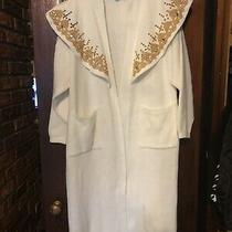 Long Sweater Coat Gold Design Collar Beads Stones One Size Fit All  Flaw Photo
