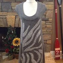 Long Sweater Dress Duster Tunic Gray Sequined Sisters Sz S M Photo