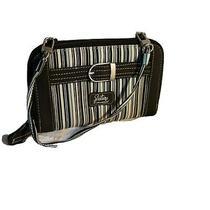 Longaberger Blue Striped Fabric Clutch Organizer Id Checkbook Wallet Strap Photo