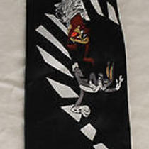 Looney Tunes Mania 1996 Black Piano Stairs Mens Tie Bugs Daffy Taz Coyote Runner Photo