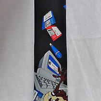 Looney Tunes Mania Tie Taz Computer Discs System Error Black Photo