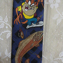 Looney Tunes Mania Tie Taz Tasmanian Devil Fishing Fish Blue 100% Polyester Photo