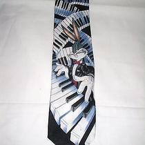 Looney Tunes Mania Warner Bros. 1996 Bugs Bunny Piano Notes Keys Neck Tie Photo