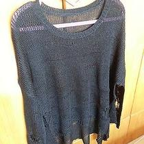 Loose Crochet Heart Shape Hollow Out Horn Sleeve Thin Asymetric Knit Sweater Top Photo