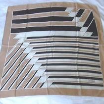 Loredano Striped Graphic Motif Blush Beige Black Vintage Silk Scarf Photo