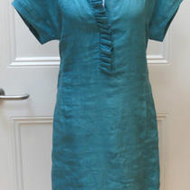 Loro Piana Perfect Aqua Linen Ruffle Front Shirtdress It42 Photo