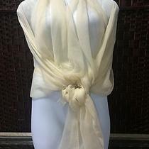 Loro Piana Stola Faded Unique Tapioca Stole Wrap Scarf Ivory Cream Cashmere Silk Photo