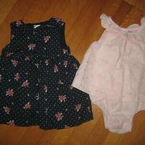 Lot 2 Baby Gap Girl's Sundress Dress Romper 3-6m Pink Blue Flowers Peter Pan Photo