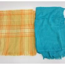 Lot 2 Barneys New York Adrienne Landau Blue Yellow Scarves Wraps Photo