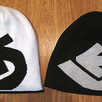 Lot 2 Burton Black & White Reversible Winter Ski Hat Cap One Size Adults  Photo