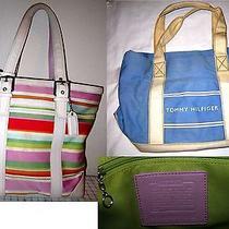 Lot 2 Coach 10705 Hampton & Tommy Hilfiger Summer Satchel Tote Purse Handbag Bag Photo