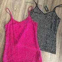 Lot 2 Express Tank Top Cami Shirt Sequin Black Silver Pink  Xsmall Photo