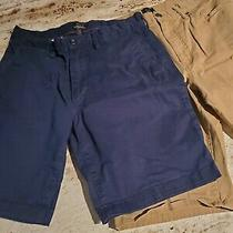 Lot 2 Gap Khakis Lived-in Shorts Mens 32 Slim Stretch Navy Blue Tan Khaki  Photo