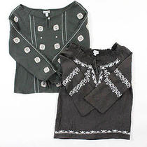 Lot 2 Girl's Petit Joie Gray Brown Embroidered Detail Blouse Tops Sz 7 Photo