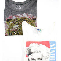 Lot 2 Junk Food Chaser White Gray Multicolored Graphic Print Tee Shirts Sz L M Photo