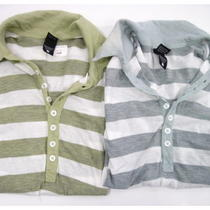 Lot 2 New Alternative Apparel Gray Green Cotton White Striped Polo Shirts Tops M Photo