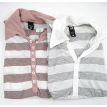 Lot 2 New Alternative Apparel Gray Pink Cotton White Striped Polo Shirts Tops S Photo