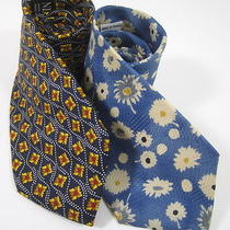 Lot 2 Nina Ricci Pierre Balmain Blue Abstract Floral Printed Silk Neckties  Photo