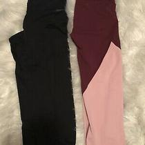 Lot 2 Pairs Womens Workout Leggings Pants Calvin Klein Pink Aeropostale Capri M Photo