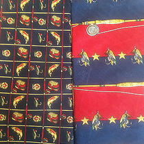 Lot 2 Pc Tommy Hilfiger Men Neck Ties 100% Silk Fishing Tackle Lures Fish Rods Photo