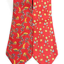 Lot 2 Salvatore Ferragamo Red Silk Floral Clover Print Neckties Photo