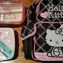 Lot 3 Back to School Pink Hello Kitty Back Pack Lunch Container  Photo