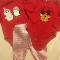 Lot 3 Carter's Christmas Snowman Reindeer Tops & Red Stripe Leggings Girls 0-3m Photo