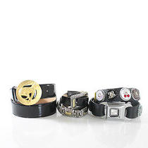 Lot 3 Designer Brighton Gail Labelle Black Leather Seatbelt Bottlecap Belts Sz S Photo
