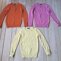 Lot 3 Gap Womens Xs Multicolor Cable Knit Angora Blend Long Sleeve Top Sweater Photo