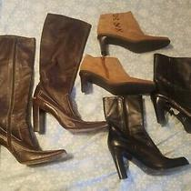 Lot 3 Pair Womens Leather Boots Size 8 Nine West & Etienne Aigner  Photo