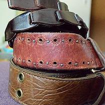 Lot 3 Womens Girls Brown Leather Belts Fossil Craft Supplies Bracelet 36-39
