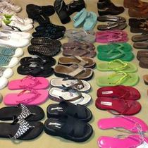 Lot 35 Pairs Dress Sandals Wedges Flip Flops Tennis Aqua Shoes Etc Womens Size 6 Photo