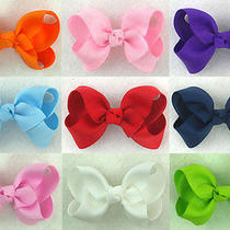 Lot/9pcs X 2.5inch Boutique Solid Grosgrain Ribbon Bow-Knot Girls Hairclipsus Photo