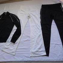 Lot Express 3pc Set M 2 Pair Pants & Track Jacket Lounge Casual Silver Trim Sexy Photo