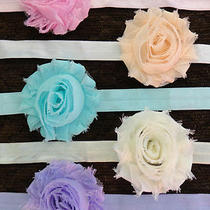 Lot Five Baby Headband Photo Vintage Shabby Rose Pink Ivory Lavender Aqua Photo