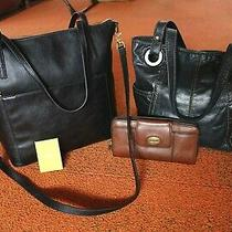 Lot Fossil Bag  and New Fossil  Evelyn Medium Black Tote Bag Leather Photo