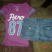 Lot Ladies Size 6 Old Navy Denim Shorts Small Aeropostale Top Photo