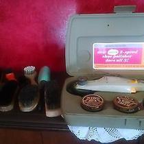 Lot of 12 Vtg Shoe Shine Brushes & Sunbeam 2-Speed Polisher Suede Horsehair Wood Photo