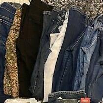 Lot of 14 Women's Juniors Jeans Express American Eagle h&m Se7en Bundle Photo