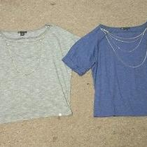 Lot of 2 Armani Exchange Womans  Sleeve Shirts With Removable Necklace Size Med Photo