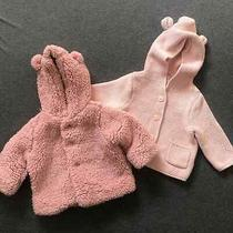 Lot of 2 Baby Gap Sherpa and Knit Bear Jackets 3-6 Months Pink Photo