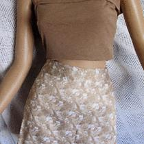 Lot of 2 Bcbg Beige & Ivory Floral Pencil Skirt Sz 4 & Arden B Beige Top  Xs Photo
