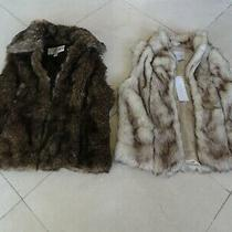 Lot of (2) Bcbgeneration Baguda Faux Fur Sleeveless Vest Blush Waistcoat Jacket Photo