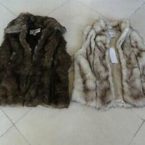 Lot of (2) Bcbgeneration Baguda Faux Fur Sleeveless Vest Blush Waistcoat Jacket Photo
