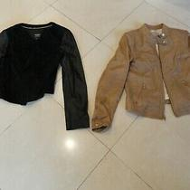 Lot of (2) Bebe Banana Republic Leather Blazer Jackets Black Beige Women Size M Photo